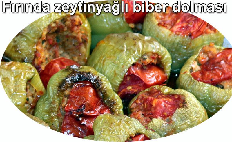 Fırnda biber dolması tarifleri zeytinyağlılar Fırında zeytinyağlı biber dolması tarifi dolma tarifleri zeytinyağlılar fırın yemekleri